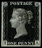 1840 1d Black Queen Victoria imperf from Plate No 1a, with 3 wide margins mint without gum. Margin touching at top and light bend in top left corner. Corner letters T.A. Sg 2. Catalogue Value £18,000.00.