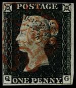 1840 1d Black Queen Victoria imperf from Plate No 2 fine used, with 4 margins and Red Maltese Cross cancellation. Top and left margins close. Corner letters Q.G. Sg 2. Catalogue Value £350.00.