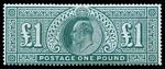 1902 £1 Dull Blue-Green KEVII unused (regummed) copy. Fresh attractive appearance. Sg 266.