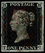1840 1d Black Queen Victoria imperf from Plate No 1b fine used, with 4 margins and Magenta Maltese Cross cancellation. 1978 B.P.A. certificate. Corner letters T.C. Sg 2. Catalogue Value £3,000.00.