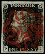 1840 1d Black Queen Victoria imperf from Plate No 5 fine used, with 4 wide margins and neat Red Maltese Cross cancellation. Corner letters P.G. Superb. Sg 2. Catalogue Value £350.00.
