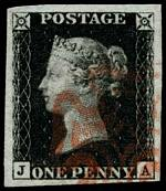 1840 1d Black Queen Victoria imperf from Plate No 5 fine used, with 4 wide margins and neat Red Maltese Cross cancellation. Corner letters J.A. Superb. Sg 2. Catalogue Value £350.00.
