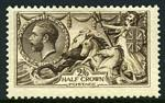 1913 2/6 Deep Sepia-Brown Waterlow print Seahorse mint with hinge remainder, centered slightly high. Sg 399. Catalogue Value £280.00.