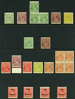 Selection of MLH KGV issues including 1930 5d Brown Small Mult Wmk perf 13½ block of 4 (one unit with pen annotation on reverse) and 1932-33 4d Olive (2) and 5d Brown C of A Wmk, plus 1932 6d Brown and 9d Violet C of A Wmk Kangaroos MLH. Odd minor fault and several MUH. (36 stamps).