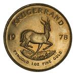 1978 Krugerrand Gold coin Unc. Contains 33.93 grams of .9170 pure Gold, giving 1.0003 troy oz of actual gold content.