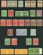 Selection of 63 mainly lower value MLH KGV issues including 4d Blue pair and 1/4 Blue Single Wmk, 3d Blue Die I (2), 4d Olive O/P OS and 5d Brown pair Small Mult Wmk perf 13½, plus 7 MLH Kangaroo issues including 1932 6d Chestnut Small Mult Wmk O/P OS (2). Also selection of 60 lower value South Australian issues in singles, pairs and blocks mixed MUH/MLH. Some KGV issues MUH and several with varieties. Odd minor fault.