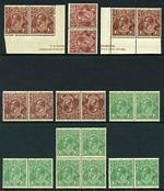 1919-23 1½d Brown and 1½d Green Single Wmk KGV MUH (10 of each). Includes 1½d Brown