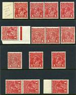 1914-18 1d Red Single Wmk KGV MUH. (14). Includes several distinctive shades. Mixed centering.