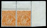 1920 2d Orange Single Wmk KGV top right corner pair MUH, left unit with strong compartment mark at top right. Lightly hinged in selvedge.