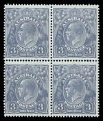 1924 3d Pale Dull Violet-Blue Single Single Wmk KGV block of 4 MUH. Lower right unit with unlisted variety, Blurred white flaw in left value tablet.
