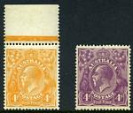 1915-21 4d Orange and 4d Violet Single Wmk KGV MUH and well centered.
