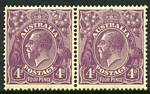 1921 4d Violet Single Wmk KGV MUH and well centered pair.