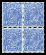 1923 4d Ultramarine Single Wmk KGV block of 4 MLH and reasonably centered. Upper right unit with White flaw on