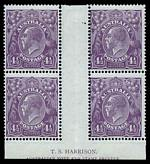 1924 4½d Violet Single Wmk KGV Harrison imprint block of 4, lightly hinged on left units and right units MUH. Lower right unit with Deformed left bottom frame, and white flaw from wattle to oval - second state, with break in left frame variety, plus additional single part Mullett imprint corner copy with the same variety. Harrison imprint closely guillotined, variety unit with thin and Mullett copy with faint tone blemishes. ACSC 118ua and zb.