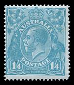 1920 1/4 Turquoise-Blue Single Wmk KGV MLH and centered to upper left.