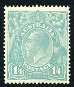 1920 1/4 Milky-Blue Single Wmk KGV MLH and centered to right. Minor gum disturbance.