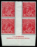 1924 1d Green and 1½d Scarlet No Wmk KGV Harrison imprint blocks of 4 MUH. 1d with