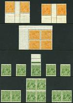 1926-27 ½d Orange (8), 1d Green (13) and 1½d Scarlet (9) Small Multiple Wmk perf 14 KGV MUH. Includes ½d Mullett imprint pairs (2), both with Break in top frame left of crown variety, 1d marginal copy with additional perforations in selvedge and 1½d part Mullett imprint corner copy with
