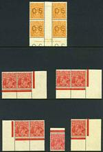 1926-30 ½d Orange perforated OS imprint block of 4 with Lower end of left fraction bar thickened variety, 1½d Red (14) inc Inverted Wmk pair and 1½d Brown Plate 3 dot corner block of 4 Small Multiple Wmk perf 13½ KGV MUH.