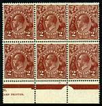 1928 2d Brown Small Multiple Wmk perf 13½ KGV MUH part imprint block of 6. Top left unit with Doubled left frame at top variety. Tiny ink mark in selvedge. ACSC 99(1)j.