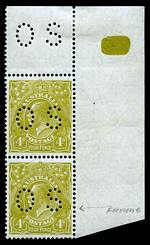 1929 4d Olive Small Multiple Wmk perf 13½ KGV perforated OS top right vertical corner pair MUH and well centered. Lower unit with faint crease and hinged in selvedge.