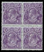 1928 4½d Violet Small Multiple Wmk perf 13½ KGV block of 4 MUH and centered to right.