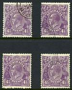 1931 4½d Violet Die II Small Multiple Wmk perf 13½ KGV CTO. (4). Mixed centering.