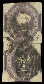 1854 6d Dull Lilac Embossed Queen Victoria used vertical pair, cut square with 3 margins. Partly cut through between the stamps. Sg 59. Catalogue Value £2,000.00.