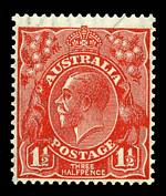 1927 1½d Red Small Multiple Wmk perf 13½ KGV on thin paper MUH. ACSC 92aa.