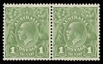 1926 1d Green Die I and II Small Multiple Wmk perf 13½ KGV pair MUH and well centered.
