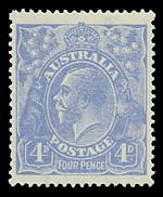 1923 4d Bright Ultramarine Harrison print KGV with inverted Wmk MUH and well centered. A couple of bluntish perfs.