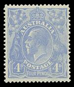 1923 4d Dull Ultramarine Harrison print KGV with inverted Wmk MUH and well centered. Retail $425.00.