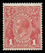 1918 1d Deep Red Die III Single Wmk KGV MUH and well centered.