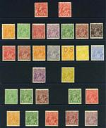 Collection of 52 different MLH KGV issues, including 4d Orange (perf OS), 4d Lemon, 4d Blue, 4d Violet and 4d Olive Single Wmk, 2d Brown and 4½d Violet Small Mult Wmk perf 14, Small Mult Wmk perf 13½ set (excluding 4½d Die II) and C of A Wmk set. Several MUH including 1/4 values. Odd minor fault, but mainly fine condition.