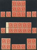 Selection of 241 mainly lower value MUH KGV issues in singles, pairs and blocks including 1913 1d Red Engraved (89), 1d Red (4), 1d Violet (6), 1½d Brown Harrison imprint strip of 4 (2) and 4d Blue Single Wmk, 1½d Brown (13) Large Mult Wmk, 1d Green (7), 3d Blue Mullett imprint pair and 4½d Violet (2) Small Mult Wmk perf 14, 1d Green Die II, 1½d Scarlet (19, inc booklet pane and Plate 3 dot corner block of 4), 3d Blue Die I and Die II (2), 4½d Violet, 5d Brown and 1/4 Blue Small Mult Wmk perf 13½ and C of A Wmk set. Several varieties and perforated OS. Few faults and variable centering.