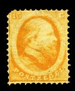 1864 15¢ Orange No Wmk perf 12½ x 12 mint hinged with original gum. Rounded top left corner. Sg 10. Catalogue Value £1,500.00.