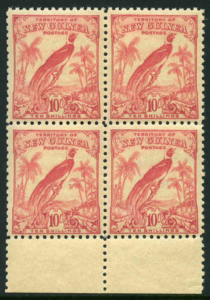 1932 10/- Undated Bird of Paradise MUH marginal block of 4, with light evenly toned gum, centered to base. Sg 188.