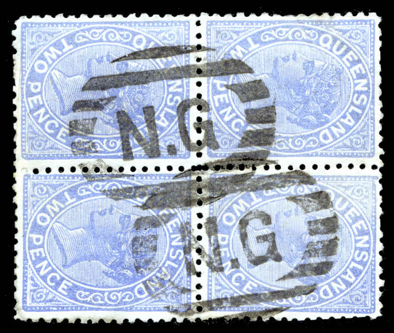 'N.G' in Bars cancellation (Lee No 2, rated D), two fine strikes on Queensland 2d Blue Lined Background Queen Victoria block of 4.