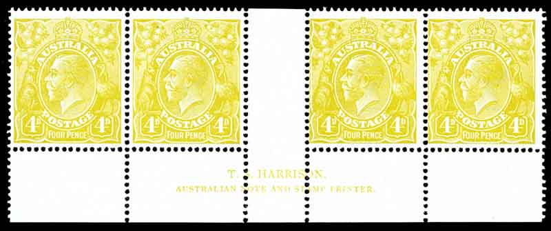 1924 4d Olive Single Wmk KGV Plate 3 Harrison imprint strip of 4 MUH and reasonably centered.