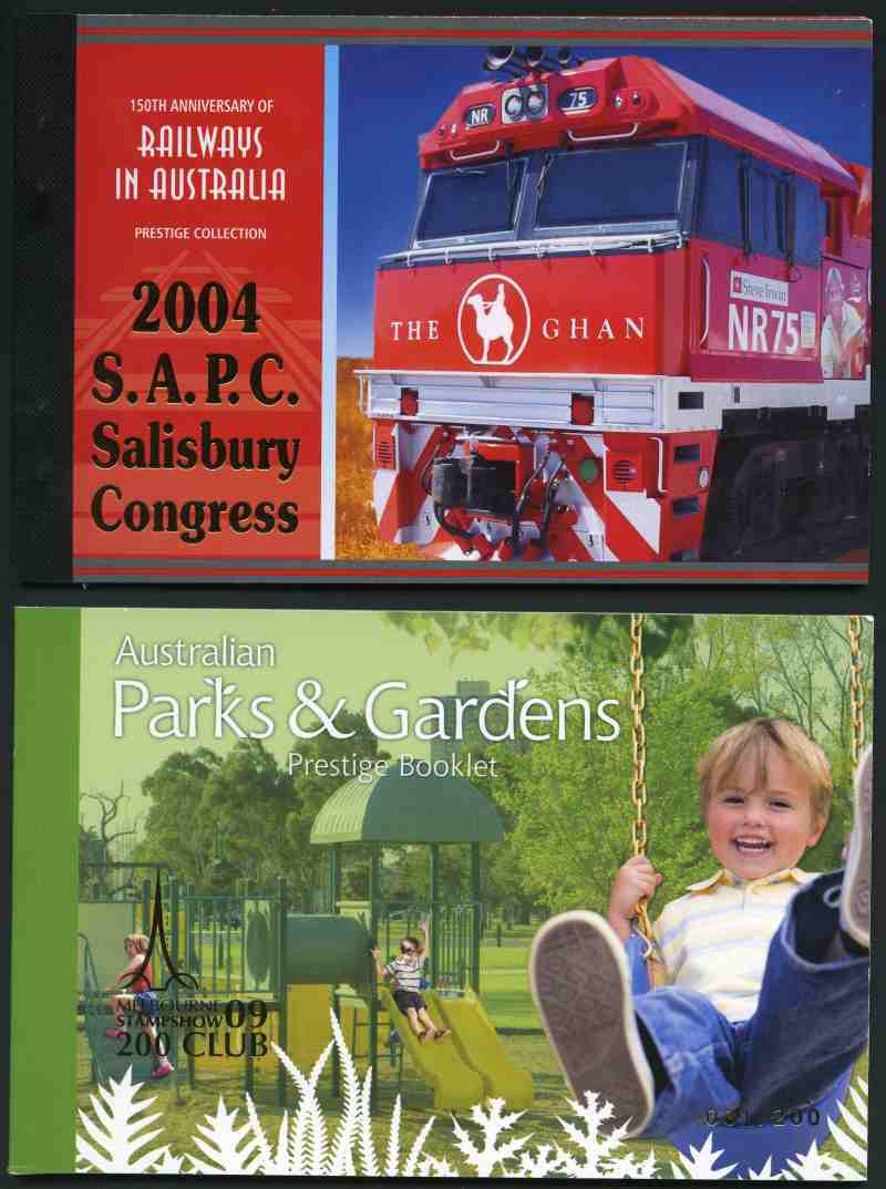 Selection of 16 different Prestige booklets, all with special limited edition overprints from 1998 to 2011. Includes 2004 Railways in Australia O/P 2004 S.A.P.C. Salisbury Congress and 2009 Parks & Gardens O/P Melbourne Stampshow 09 200 Club. Retail $1,375.00.