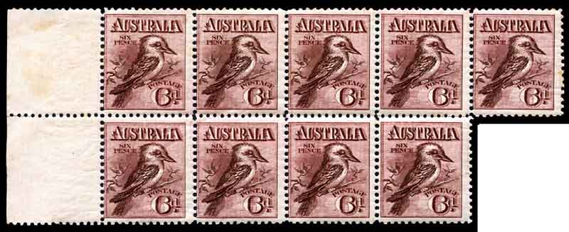 1914 6d Claret Kookaburra marginal block of 9 MUH and centered to left, minor faults affecting 5 units.