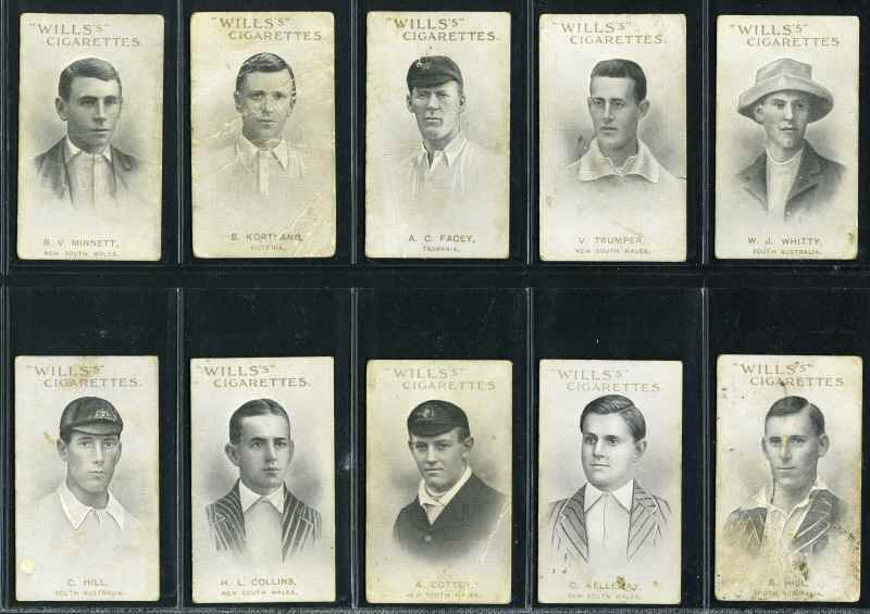 Wills 1911 Australian and English Cricketers, Capstan backs (35/59, plus 17 spares), Vice Regal backs (28/59, plus 6 spares) and No Brand backs (15/59) cigarette cards. Some in poor condition, otherwise G/VG.
