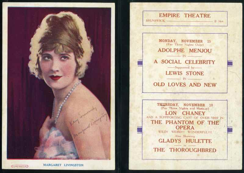 Movie Star Theatre cards featuring Margaret Livingston (2), Viola Dana (2), Laura La Plante (3), Rudolph Valentino (3), Colleen Moore (3), Florence Vidor, Chas. (Buck) Jones (2), Reginald Denny (2), Ed. (Hoot) Gibson (5), Norman Kerry (2), Charlie Chaplin and John Boles, advertising movies showing at the Empire Theatre Brunswick, Lyric Brunswick, Alhambra Theatre Brunswick, Grand Coburg and Capital Theatres on reverse. Odd duplicate advertisement. Also Alice Terry,