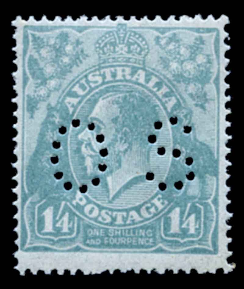 1920 1/4 Greenish-Blue Single Wmk KGV perforated OS MUH and reasonably well centered.