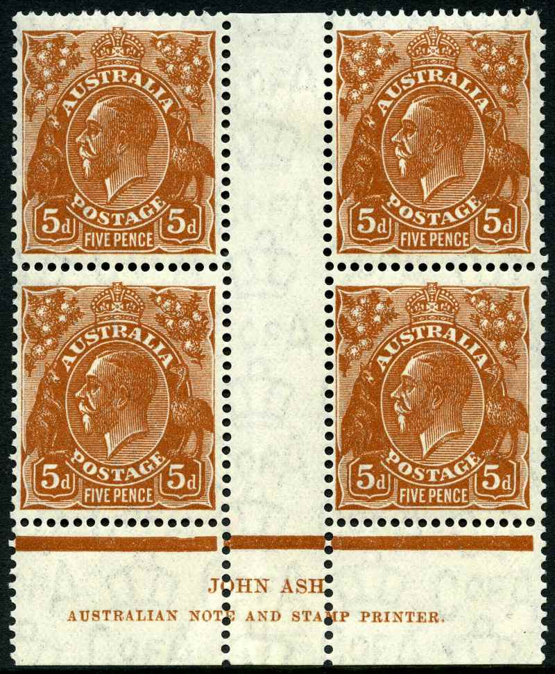 1932 5d Brown C of A Wmk KGV MUH imprint block of 4. Lower right unit with Flaw in crown variety. Lightly hinged in selvedge and top right unit with missing corner perf. ACSC 127(3)z.