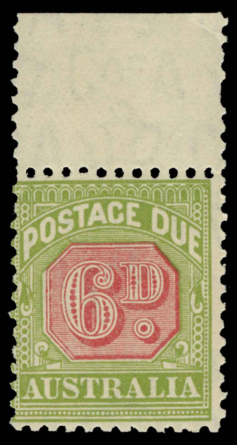 1931-37 6d Carmine and Yellow-Green perf 11 C of A Wmk Postage Due MUH marginal copy. ACSC D120.
