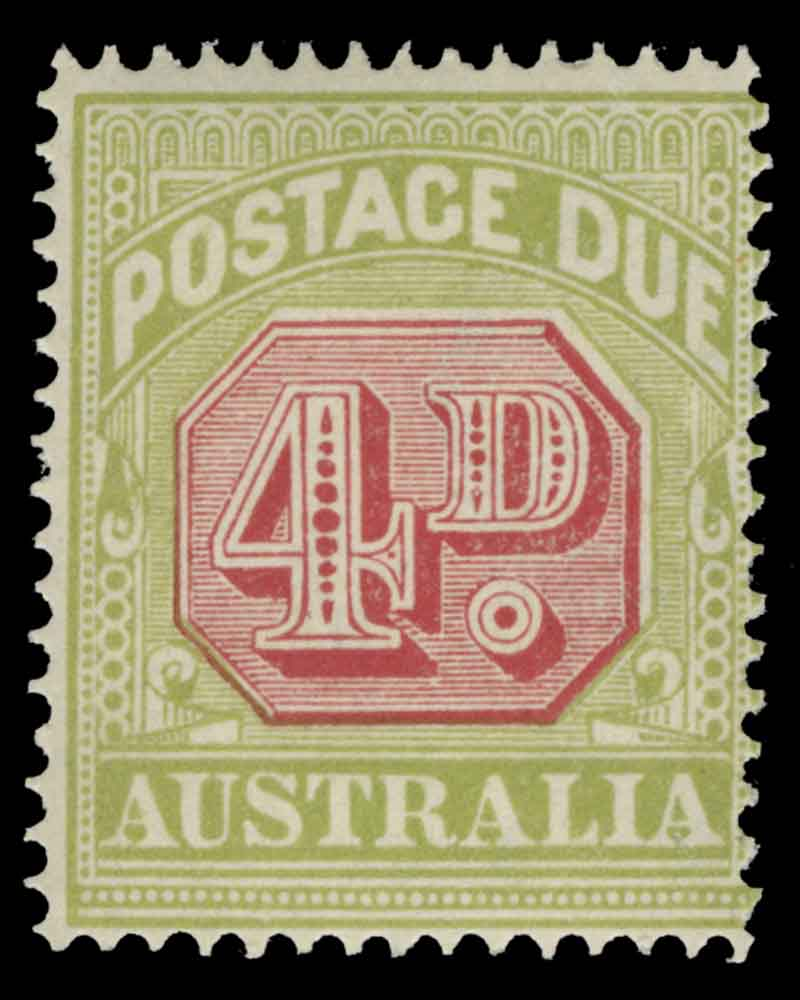 1922-30 3rd Wmk Red and Green Victorian Design Postage Due set, the 4d value both perf 14 and perf 11 MUH. Retail $335.00.