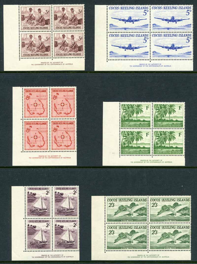 1963 Definitive set MUH (6 including imprint blocks of 4), 1963 Definitive set on WCS FDC's, Australian 1966 Definitive set of 22 (no coils) on WCS FDC's, cancelled on First Day of Issue in the Cocos (Keeling) Islands and a few other items.