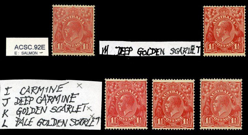 1927 1½d Red Small Multiple Wmk perf 13½ KGV in Salmon, Carmine, Golden Scarlet, Pale Golden Scarlet and Deep Golden Scarlet shades MUH. Catalogue Value $576.00.