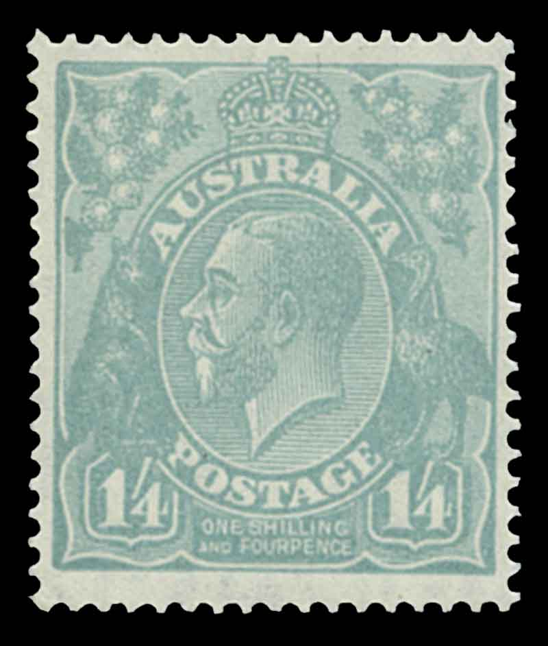 1927 1/4 Greenish-Blue Small Multiple Wmk perf 14 KGV with variety